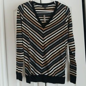 NWT - The Limited V Neck Striped Sweater - TALL